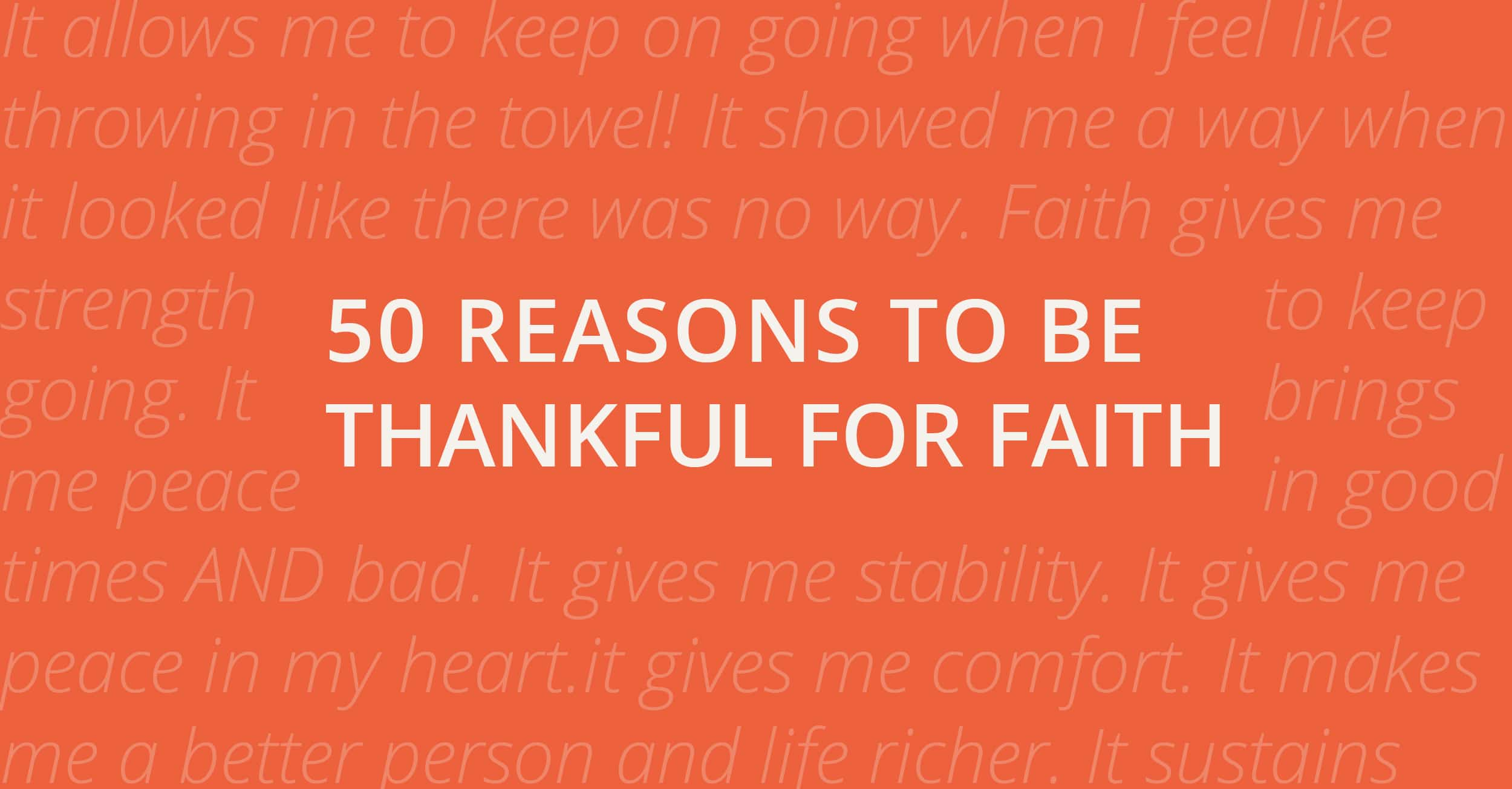 50 Reasons to be Thankful for Faith