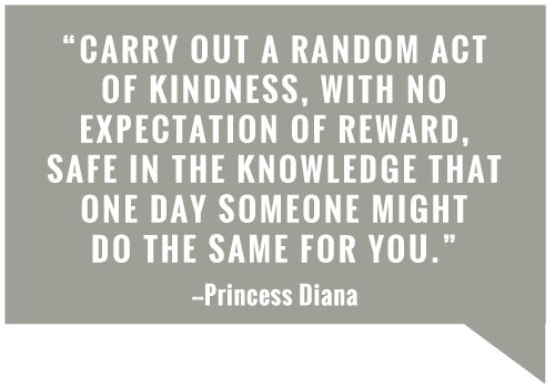 Carry out a random act of kindness with no expectation of reward
