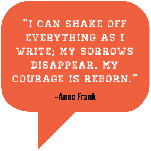 I can shake off everything as I write; my sorrows disappear, my courage is reborn