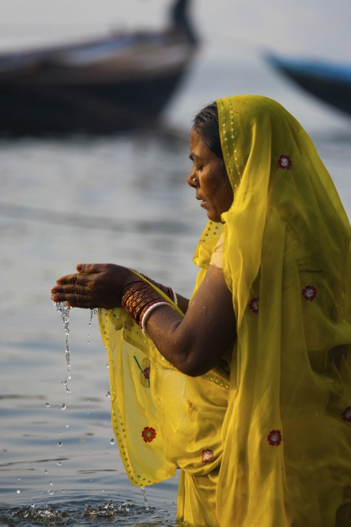 Hindu Woman Praying Ganges River Varanasi